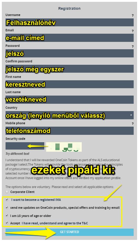 onecoin regisztrációs segédlet